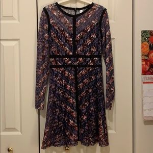 Long sleeve multi-color fitted swing dress